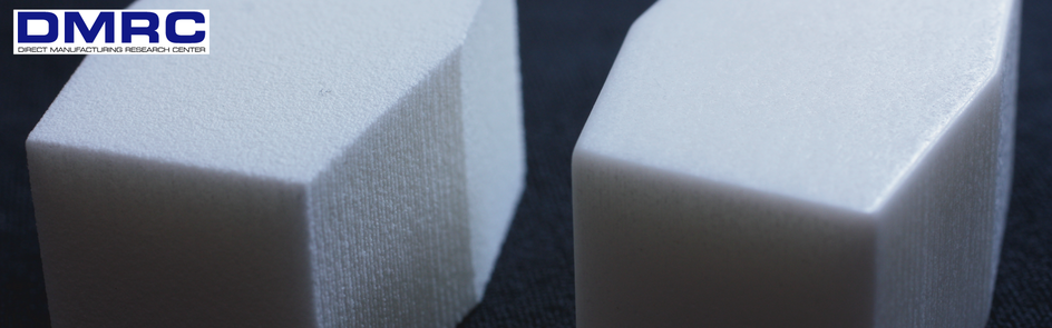 Sample parts for surface characterization: as-built condition (left) and smoothed by mass finishing (right).